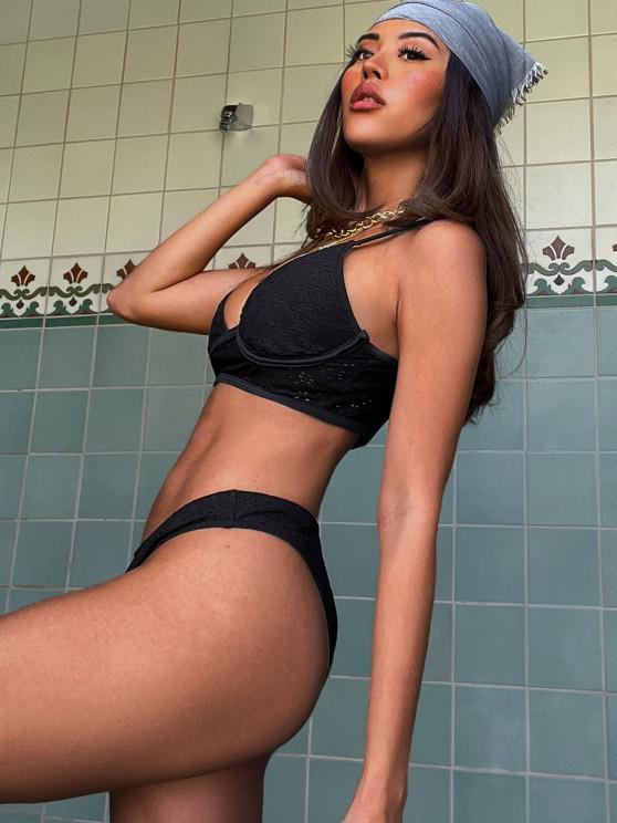 shops Ericka Renee X ZAFUL Eyelet Underwire High Leg Tankini Swimwear - BLACK S