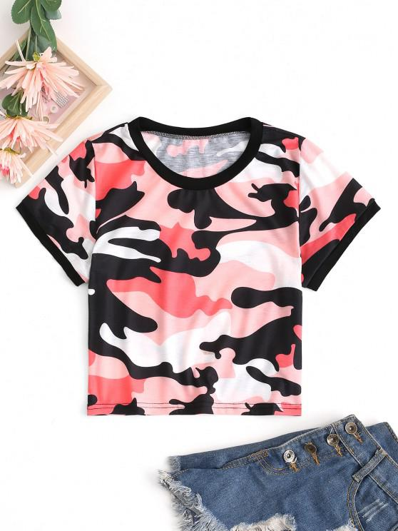 trendy Cropped Camo Ringer Tee - RED M