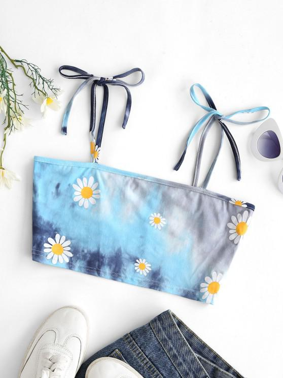 Krawattenfärbender Schulter Daisy Crop Cami Top - Multi M