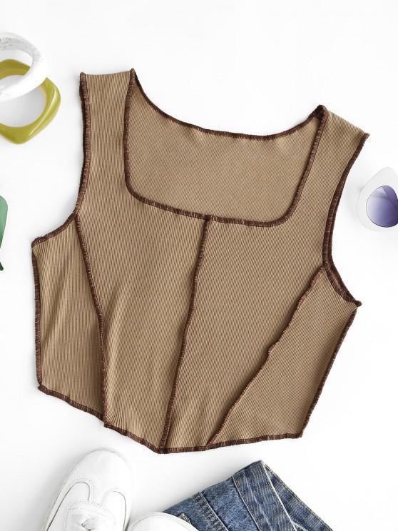 Quadrat Kragen Gerippter Bikiniunterteile Tank Top - Kaffee XS