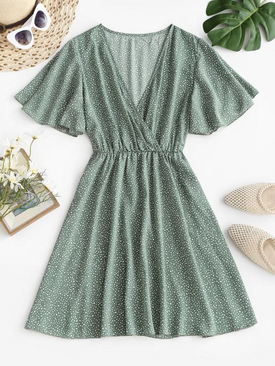shops Dotted Butterfly Sleeve Surplice Dress - GREEN S