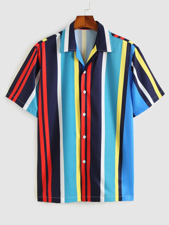 Camisa a Rayas de Contraste - Azul Cristal M