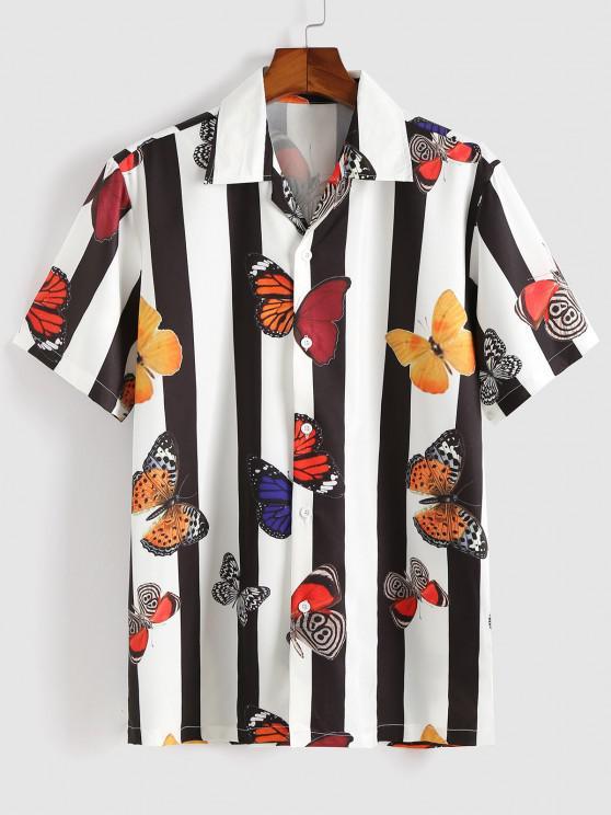 Chemise de Vacances à Rayure Contrastée - Blanc M