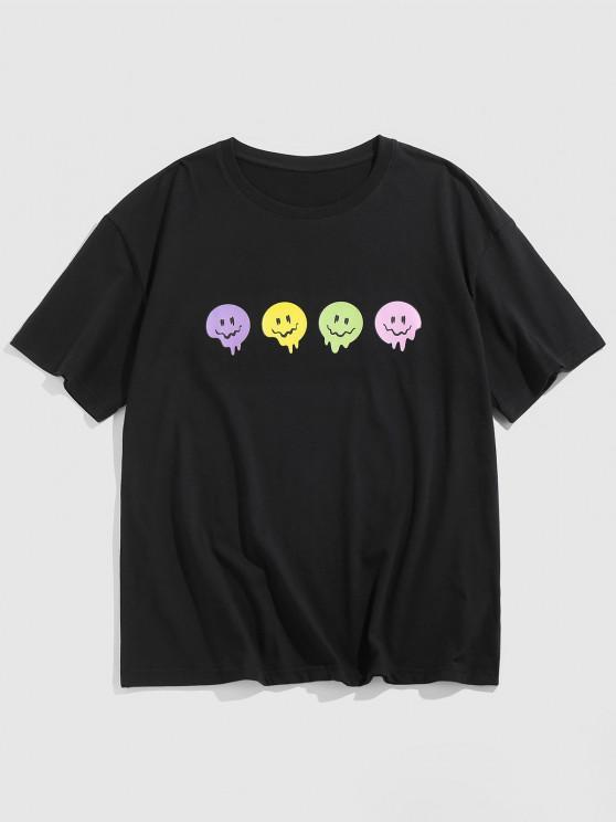 affordable ZAFUL Cartoon Face Print Short Sleeve T-shirt - BLACK S
