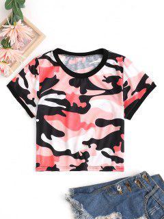 Ringer T-Shirt Corta Con Stampa Mimetica - Rosso M