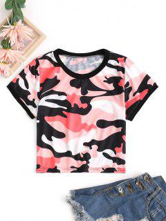Cropped Camo Ringer Tee - Red Xl
