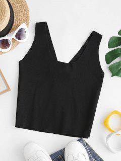 V Back Knitted Crop Slim Tank Top - Black