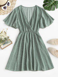 Dotted Butterfly Sleeve Surplice Dress - Green S