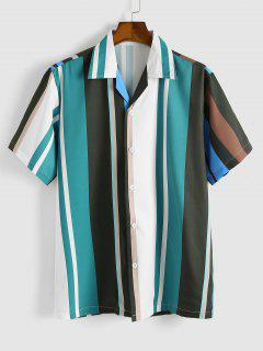 Colorblock Stripes Button Up Shirt - Light Green L
