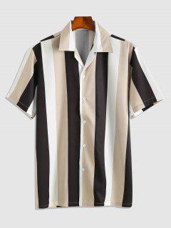 Short Sleeve Contrasting Striped Shirt - Multi M