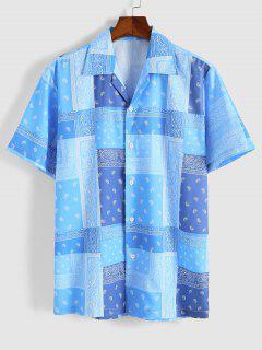 Camisa Manga Corta Estampado Cachemir - Cielo Azul Oscuro L