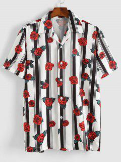Stripe Rose Short Sleeve Shirt - Red M