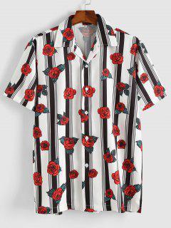 Stripe Rose Short Sleeve Shirt - Red L