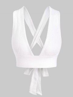 Ribbed Criss Cross Tie Back Bralette - White M
