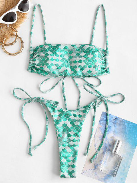 affordable Ericka Renee X ZAFUL Mermaid Print Tie Side String Bikini Swimwear - GREEN S Mobile