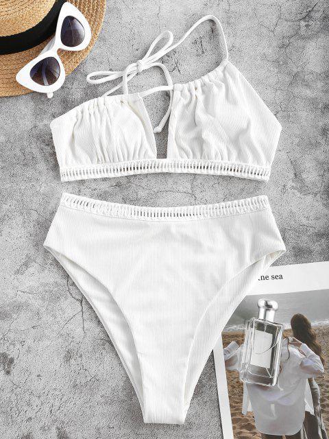 Ericka Renee X ZAFUL High Cut Ribbed Tiebindung Eine Schulter Tankini Badebekleidung - Weiß S Mobile