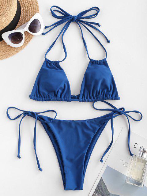 Ericka Renee X Zaful Halter Gebundene Multi-Wege-Bikini-Badebekleidung - Blau S Mobile