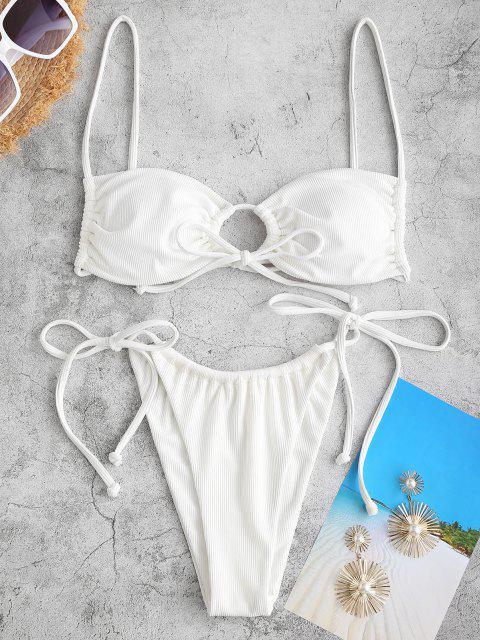 ZAFUL Dieses Blumen Bikini Badebekleidung mit Tunnelzug - Weiß L Mobile