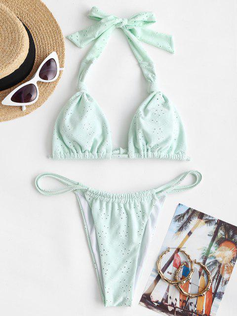 ZAFUL Maillot de Bain Bikini Feuille Gaufrée avec Œillet - Vert clair M Mobile