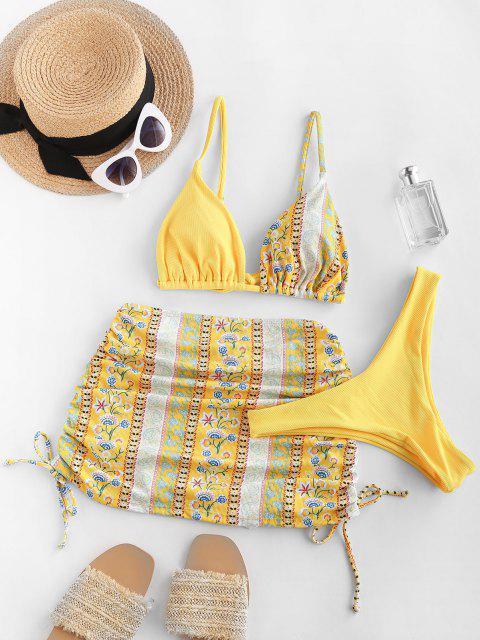fashion Ericka Renee X ZAFUL Floral Print Padded Three Piece Bikini Swimsuit - YELLOW M Mobile