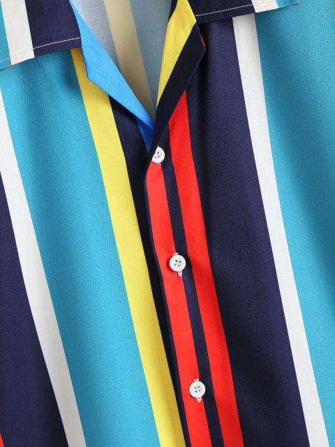 Kontrastierendes Streifenhemd. - Kristal Blau XXL Mobile