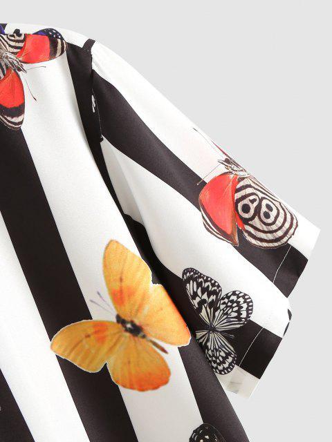 Kontrastierendes Streifen Schmetterling Ferien Hemd - Weiß XXL Mobile