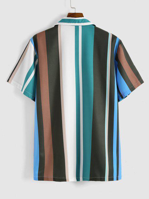 fashion Colorblock Stripes Button Up Shirt - LIGHT GREEN M Mobile