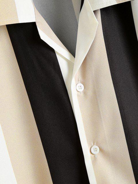 Kontrastierendes Gestreiftes Hemd mit Kurzen Ärmeln - Multi XXL Mobile