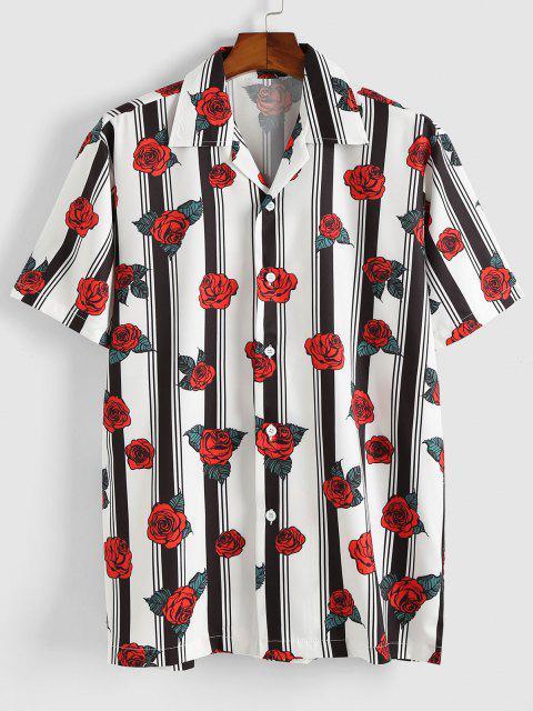 Stripe Rose Short Sleeve Shirt - أحمر M Mobile
