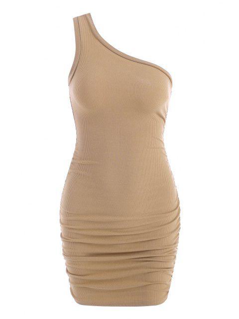 Geripptes Kleid mit Einer Schulter ,Rüschen und Seitentaschen - Licht Kaffee S Mobile