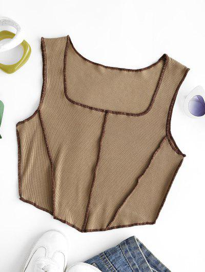 Square Collar Rib-knit Exposed Seam Tank Top - Coffee Xs