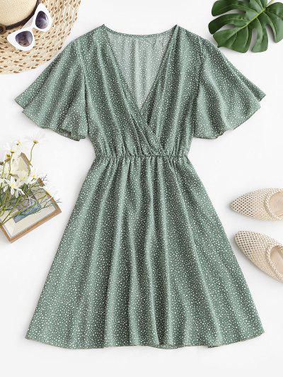 Dotted Butterfly Sleeve Surplice Dress - Green M