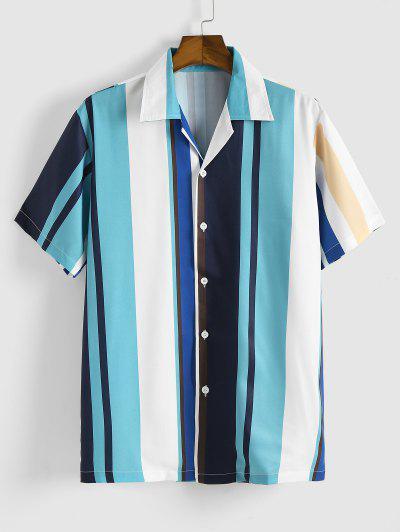 Colorblock Stripes Button Up Shirt - Blue L