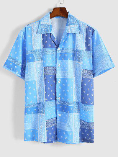 Paisley Bandana Print Short Sleeve Vacation Shirt - Deep Sky Blue Xl