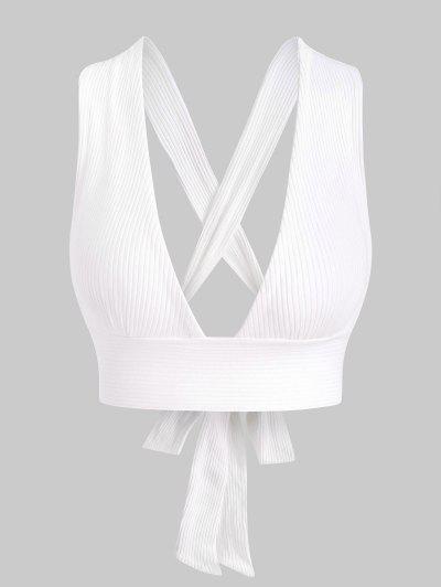 Ribbed Criss Cross Tie Back Bralette - White S