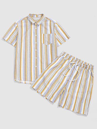 ZAFUL Striped Print Pocket Shirt And Shorts Set - Yellow Xxl