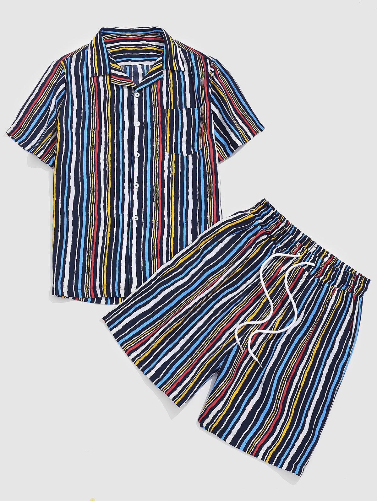 ZAFUL Colorful Striped Print Pocket Shirt and Shorts Set