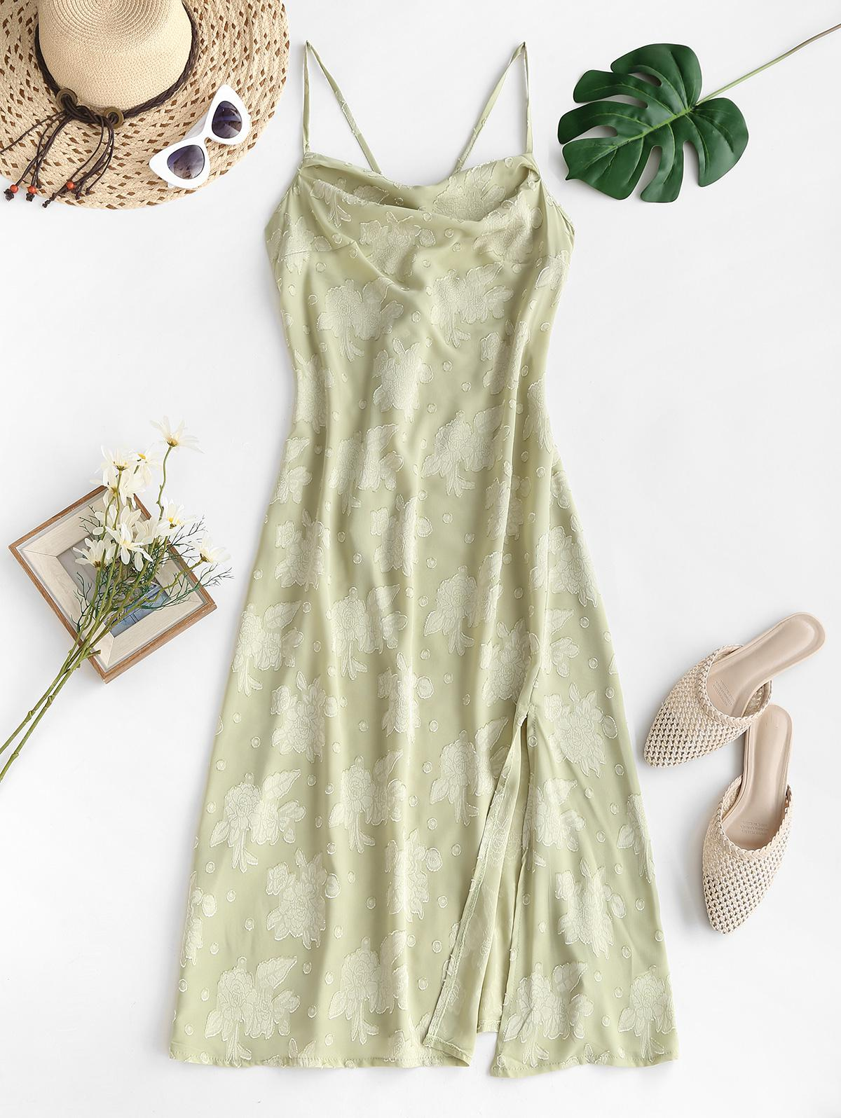 Cowl Neck Floral Jacquard Lace-up Backless Split Hem Midi Dress