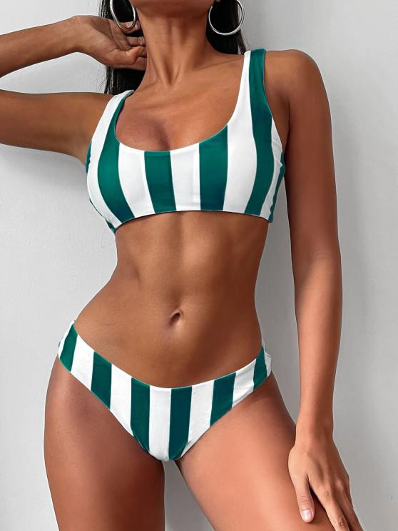 fashion ZAFUL Knot Striped Bikini Set - DEEP GREEN S