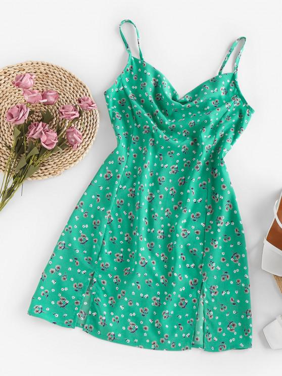 womens ZAFUL Floral Cowl Front M Slit Mini Dress - LIGHT GREEN S