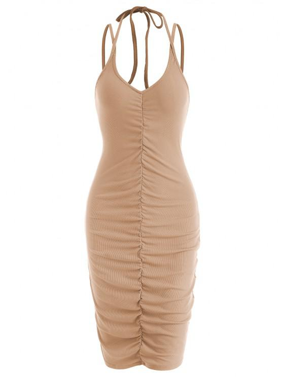 unique Ribbed Ruched Front Tie Slinky Mini Dress - COFFEE M