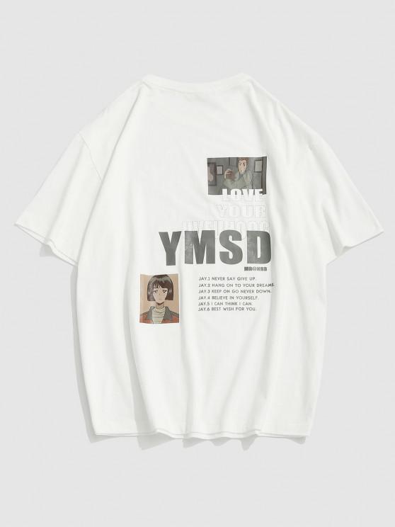 Letters Anime Print Short Sleeve Graphic T-shirt - أبيض XL