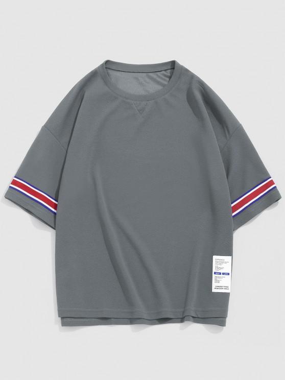 Striped Print Letter Applique T-shirt - اللون الرمادي M