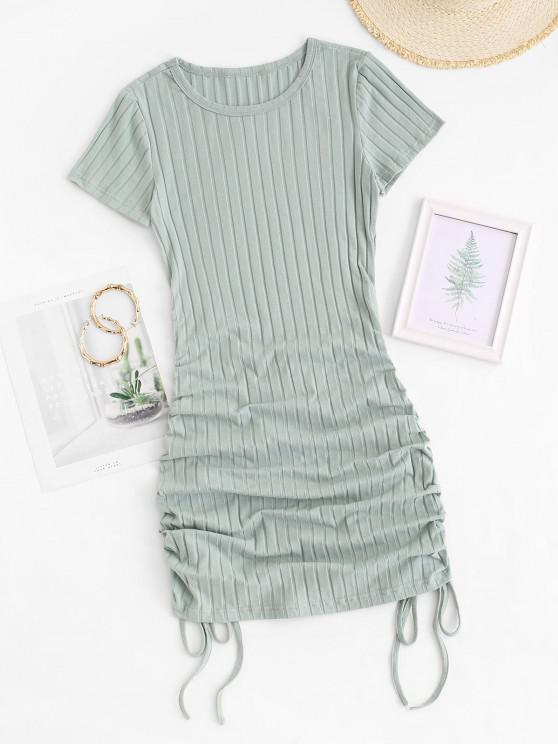 best Cinched Side Ribbed Slinky Mini Dress - GREEN M