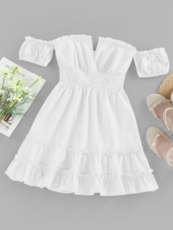 women's ZAFUL Off Shoulder V Wired Ruffled Smocked Dress - WHITE S