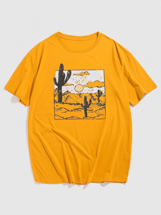 Cartoon Desert Cactus Print T-shirt - الأصفر XL