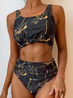 ZAFUL Knot Ruched Marble Print Tankini Swimsuit - Black 2xl