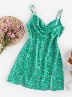 ZAFUL Floral Cowl Front M Slit Mini Dress - Light Green S