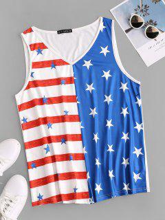 T-Shirt Taglia Forte Con Stampa Bandiera Americana Senza Maniche Di ZAFUL - Bianca 5xl