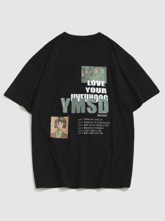 T-Shirt Grafica A Lettere Con Maniche Corte - Nero 2xl